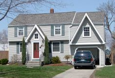 light grey house with dark grey roof Grey Houses, Roof Tiles, Roofing Contractors, Roof Repair, Home Additions, House Roof, Color Tile, House Colors, Dark Grey