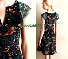 0 anthropologie larksong corduroy beaded lace fit flare classic vibrant dress 5* #Anthropologie