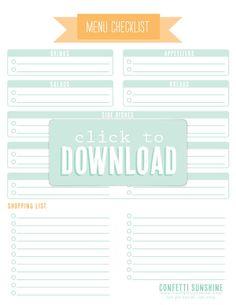 Party Planner - Menu Checklist