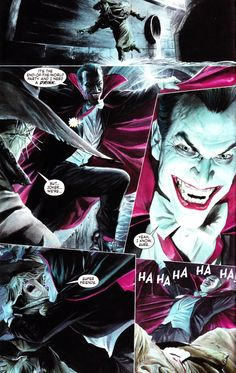 The Joker as Dracula attacks Scarecrow. Happy Halloween! JLA: Justice #12 by Alex Ross.