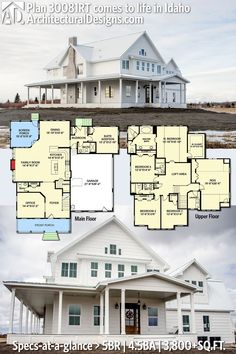Architectural Designs Modern Farmhouse Plan #30081RT client-built in Idaho with wraparoun porch | has 5 beds | 4.5 baths | 3,800+ Sq.Ft. | Love the porch and separate guest bedroom suite. All main bedrooms on second floor.