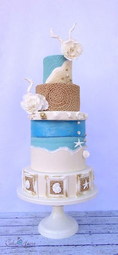 love the mix of colors and textures on this beach wedding cake! ~  we ❤ this! moncheribridals.com