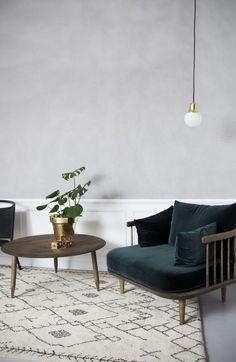living room monochrome with green velvet Atelier Ribe Nordic Living Room, New Living Room, Living Room Decor, Living Room Inspiration, Home Decor Inspiration, How To Clean Furniture, Home Furniture, Beautiful Interiors, Decoration