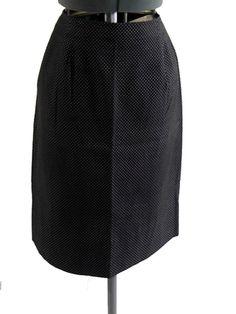 Skirt 60s WIGGLE Vintage Black Cotton Polka-dot Size Waist 28 #Handmade#vintageskirt#wiggle