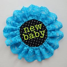 NEW BABY pin badge rosette style badge handmade from an eclectic mix of fabrics and lace by dAKOTArAEdUST Pin Badges, Rosettes, Statement Earrings, Lace Trim, New Baby Products, Etsy Seller, Fabrics, Trending Outfits, Bristol