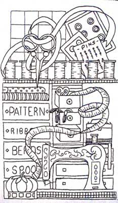 We love these free downloadable sewing themed coloring pages