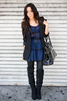blazer + dress + knee high boots