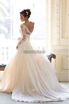 Bateau Lace Chiffon A-line Panel Train Sash Wedding  Dress 1  I love this wedidng dress so much !maybe i will wear it
