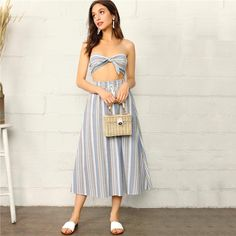 Knotted Striped Tube Top And Skirt Set – NuTrending  #skirt #hm #style #girly #girl #love #fashion #girls #cute #instagood #beauty #me #beautiful #pink #pretty #photooftheday #model #instafashion #dress #hair #stylish #outfit #nails #shoes #eyes #like #shopping #styles #makeup #heels