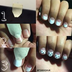 Tutorial cat nail art. This is how to shape CAT HEAD perfectly. #catnailart #cat #tutorialnailart #tiarasaur