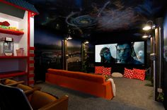 movie theater wall mural | Glorious Movie Theatre decorating ideas for Aesthetic Home Theater ...