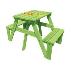 Lohasrus Kids Picnic Table, Green Giraffe Silk Screen