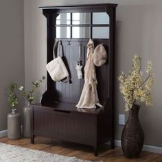 Entryway-Bench-Seat-Coat-Hanger-Hat-Rack-Hooks-Shoe-Storage-Chest-Furniture-NEW