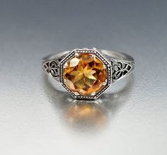 Vintage Sterling Silver Filigree Citrine Ring Size 5 by boylerpf, $80.00
