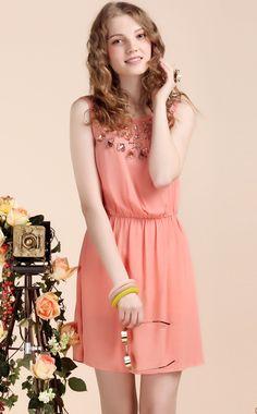 Charming Pink Sleeveless Rhinestone Beaded Chiffon Dress