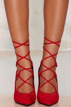 Jeffrey Campbell Brielle Lace-Up Suede Pump - Red - Shoes | Pumps