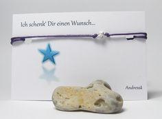 925 Silber ♥ Wunschbänsel Funkel Stern ♥ in Lila von Andressâ auf DaWanda.com