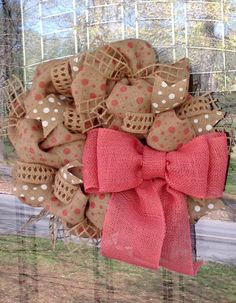Pink Burlap Wreath with Polka Dot Ribbon for Spring and Summer by SimplyBlessedGift www.etsy.com/shop/simplyblessedgift