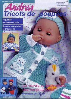 andrea 508 - andrea poupees - Picasa Albums Web Knitting Dolls Clothes, Crochet Doll Clothes, Knitted Dolls, Doll Clothes Patterns, Crochet Dolls, Doll Patterns, Crochet Baby, Andreas, Knitting Magazine