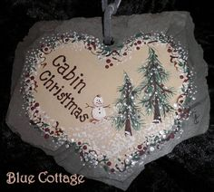 A Cabin Christmas Hand Painted Slate by simplytjsbluecottage, $6.00