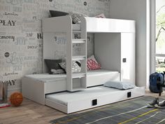Farrell European Single Triple Sleeper Bunk Bed with Shelf and Trundle Isabelle & Max Bed frame colour: White/Grey - White/Grey Bed Frame With Drawers, Bunk Beds With Drawers, Bunk Bed With Desk, Bunk Bed With Trundle, Toddler Car Bed, Convertible Toddler Bed, Triple Sleeper Bunk Bed, High Sleeper Bed, Cabin Bunk Beds