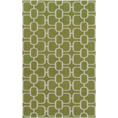 Lockhart Hand-Hooked Grass Green/Light Gray Area Rug