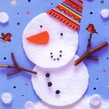 Snowman made with cotton makeup pads Christmas 2014, Merry Christmas, Cotton Pads, E Cards, Teaching English, Preschool Crafts, Gift Guide, Snowman, Ms