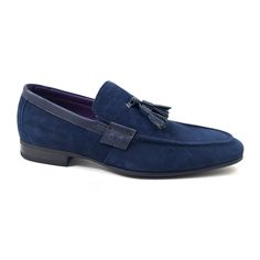 Mens navy suede tassel loafer for a nautical vibe.