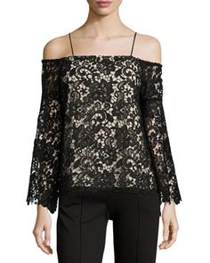 Prena Trumpet-Sleeve Off-the-Shoulder Lace Top by Alice Olivia at Neiman Marcus.