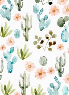 cacti watercolor by Sonia Cavellini. Modern water colour painting in pastel colours.