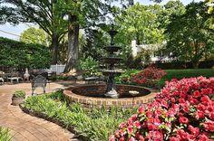 A fountain accents this delightful backyard garden.