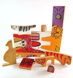 Vintage Mid Century Wooden Stylized Zoo Animals Enzo Mari Style Animali Puzzle. $135.00, via Etsy.