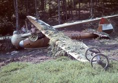 Farkashegy around 1943-44. Glider clubs had to pay more attention to save their gliders, because the possibility of a bomb hit has increased around Budapest during the world war. To keep the gliders safe they camouflaged the planes alongside the forest. Gliders in the picture: DFS Kranich II (HA-5066), R-08C Pilis (HA-3023)