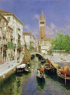 Title: A Venetian Canal, undated  Artist: Rubens Santoro  Medium: Canvas Art Print - Giclee