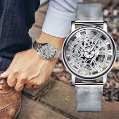 Hollow Out Quartz Watch Stainless Steel Mesh, Islamkot Cool Watches, Watches For Men, Best Affordable Watches, Skeleton Watches, Mesh Band, Expensive Watches, Stainless Steel Mesh, Watch Sale, Quartz Watch