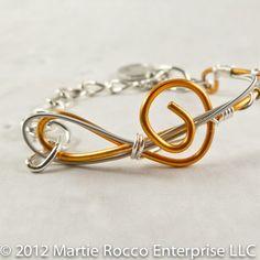 Guitar string and copper wire wrap bracelet. GSB16 | MartieRocco - Jewelry on ArtFire Wire Wrapped Bracelet, Cord Bracelets, I Love Jewelry, Jewelry Making, Guitar String Jewelry, Dedicated Follower Of Fashion, Copper Wire, Wire Wrapping, Fashion Accessories