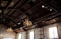 Chandeliers in Warehouse Venue (The Green Building in Carroll Gardens)
