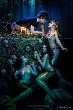 Fairy Tale Photography by Ksenia Muza (Tolmacheva). Sirens and temptress Real Mermaids, Mermaids And Mermen, Pretty Mermaids, Sirens, Fantasy World, Fantasy Art, Dream Fantasy, Conceptual Photography, Fantasy Photography