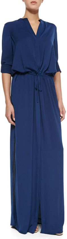 Vince Long-Sleeve Maxi Shirtdress