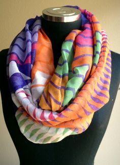 Multi Colored Chevron Infinity Scarf   Sparkly Jewels