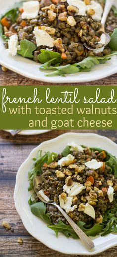 Toasted walnuts and fresh goat cheese make this classic French Lentil Salad a special treat! All clean eating ingredients are used for this healthy recipe. Lentil Salad Recipes, Veggie Recipes, Lunch Recipes, Vegetarian Recipes, Dinner Recipes, Cooking Recipes, Healthy Recipes, French Salad Recipes, Walnut Recipes