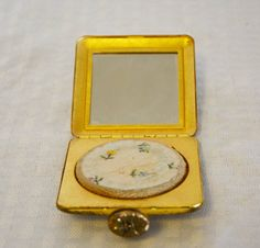 1950s Vintage Square Gold Tone Compact by MyVintageHatShop on Etsy