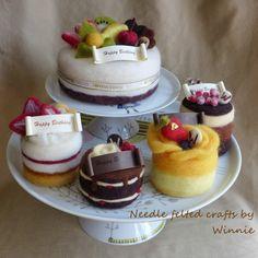 Needle felted cake Raspberry chocolate cake by FunFeltByWinnie