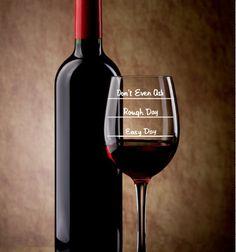 Verre à vin amusant gravé jour facile, baises jour, ne demandez pas même