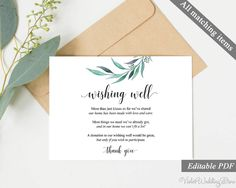 Eucalyptus Wishing Well Card. Wishing Well Template. Printable Wedding Wishing Well Card. Greenery Wishing Well. Download Editable PDF http://etsy.me/2jetcHn #weddings #invitation #green #clear #wishing #well #card #wedding #template