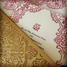 Indian wedding invitation with paisley design and laser cut sleeve