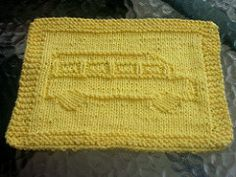 School Bus Knit Dishcloth pattern by Lisa Millan Knitted Dishcloth Patterns Free, Crochet Dishcloths, Crochet Motif, Knit Patterns, Knit Crochet, Knitting Blogs, Knitting Projects, Crochet Projects, Hand Knitting