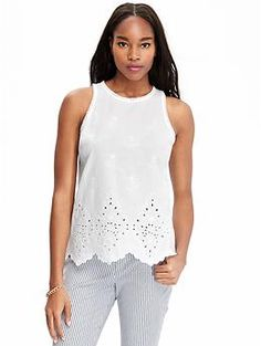 For summer.. Womens Embroidered Sleeveless Tops Old Navy