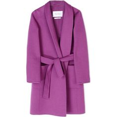 Max Mara Coat ($1,525) ❤ liked on Polyvore featuring outerwear, coats, jackets, coats & jackets, purple, lapel coat, maxmara coat, velour coat, purple coat and maxmara