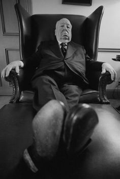 alfred hitchcock in his office at the universal studios, los angeles, 1974